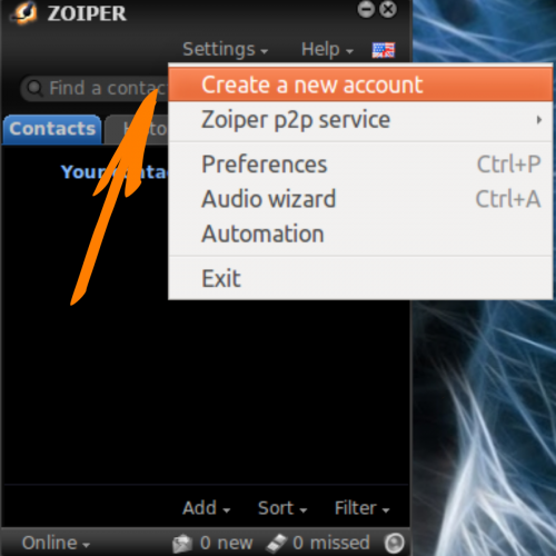 Linux Zoiper Шаг1